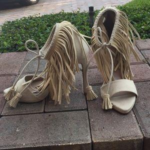 Zara Suede Fringe Heels